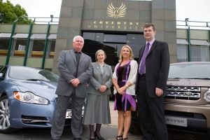 From left to right: Bob Nason, Trade Union convener for Jaguar Land Rover, Solihull and West Midlands, Professor Madeleine Atkins, Linda Polites and David Smith